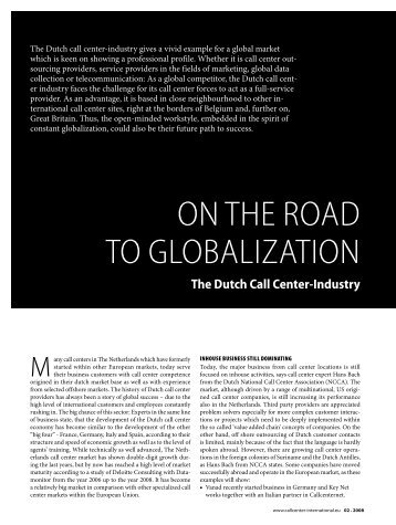 On the rOad tO glObalizatiOn - Callcenter-Profi