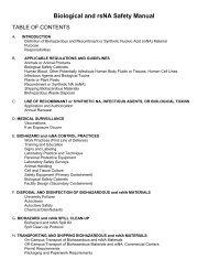 Biological and rsNA Safety Manual - Environmental Health & Safety