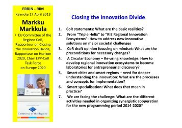 Closing the Innovation Divide (Markku Markkula) - European ...