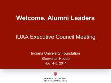 Welcome, Alumni Leaders - Indiana University Alumni Association