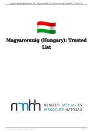 Magyarország (Hungary): Trusted List - Nemzeti Média