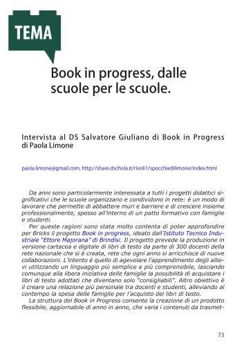 Book in progress, dalle scuole per le scuole.