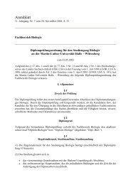 Prüfungsordnung für den Studiengang Biologie - Fachbereich ...