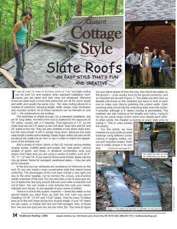 Traditional Roofing Magazine Issue #5 - cottage style slate roofs
