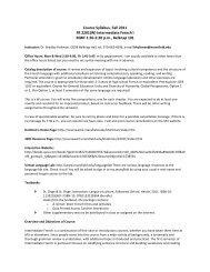 Course Syllabus, Fall 2011 FR 2201(W) Intermediate French I MWF ...