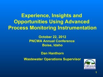 Experience, Insights and Opportunities Using Advanced ... - pncwa