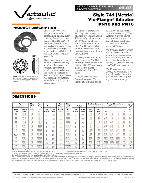 06.07 Style 741 (Metric) Vic-Flange Adapter PN10 and PN16