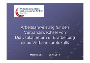 Arbeitsanweisung für den Verbandswechsel von ... - WB-nephro.de