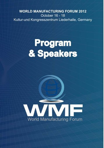 WMF2012 Programm - Intelligent Manufacturing Systems