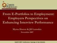 From E-Portfolios to Employment - The Career Center