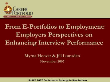 From E-Portfolios to Employment - The Career Center