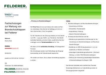 Einladung Schulungen Trox 2013.pub - Felderer