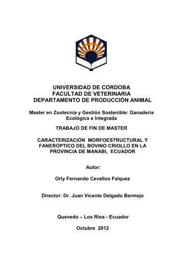 Caracterización morfoestructural y faneróptico del bovino criollo en ...