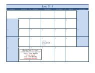 2011 Marching Band Calendar