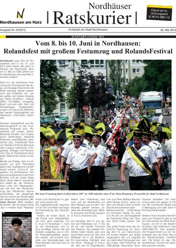 Rolandsfest mit großem Festumzug und ... - Stadt Nordhausen