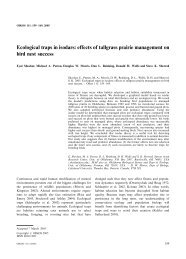 Ecological traps in isodars: effects of tallgrass prairie management ...