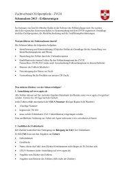 Hinweise Schauplan - Zuchtverband CH Sportpferde