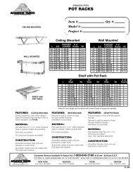 Shelving & Pot Racks - KCL Cutsheets