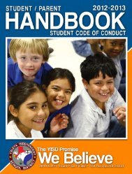 Student/Parent Handbook - Ysleta Independent School District