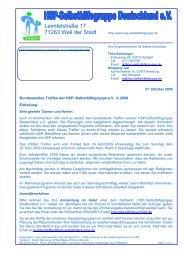 Einladung und Programm für das Jahrestreffen 2009 - HSP ...