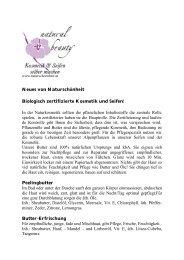 Neues von Naturschönheit Biologisch zertifizierte Kosmetik und ...