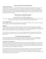 Community Advisor Position Description - Wittenberg University