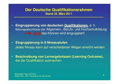 Der Deutsche Qualifikationsrahmen (DQR) - Werkstätten:Messe