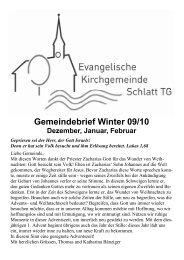 Gemeindebrief Winter 09/10 - Evangelische Kirchgemeinde Schlatt