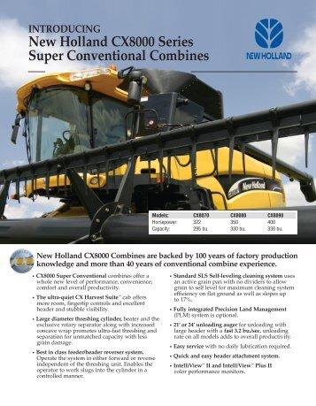New Holland CX8000 Series Super Conventional Combines