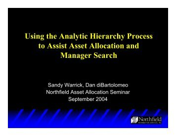 Using the Analytic Hierarchy Process to Assist Asset Allocation and ...