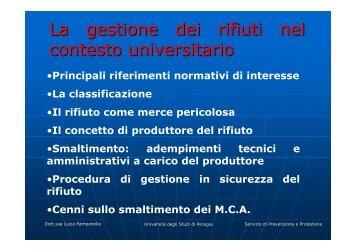 La gestione dei rifiuti nel contesto universitario - INFN