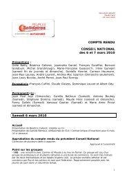 COMPTE RENDU CONSEIL NATIONAL des 6 et 7 mars 2010 ...
