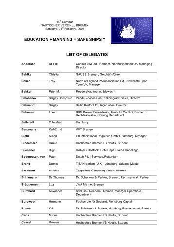 EDUCATION + MANNING = SAFE SHIPS ? LIST OF DELEGATES