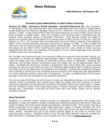 Pdf Version Of This News Release Novagold Resources Inc