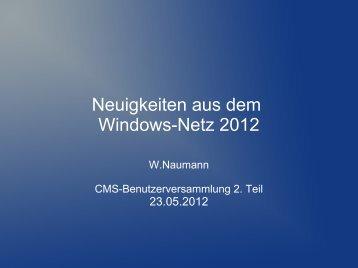 Neuigkeiten aus dem Windows-Netz 2012