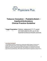 Tobacco Cessation – Adult and Adolescent ... - Physicians Plus