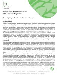 Implications of WTO Litigation for the WTO Agricultural Negotiations