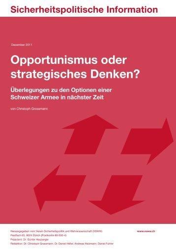 Opportunismus oder strategisches Denken? - VSWW