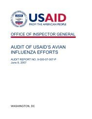Audit of USAID's Avian Influenza Efforts - US Agency For ...