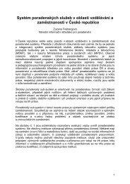 Systém poradenských služeb v oblasti vzdělávání a zaměstnanosti v ...