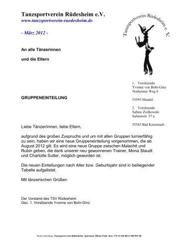 Tanzsportverein Rüdesheim e.V. - TSV Rüdesheim