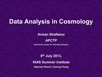 Data Analysis in Cosmology - KIAS Astrophysics Group