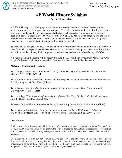 AP World History Syllabus BETA