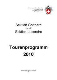 Tourenprogramm 2010 - SAC-Gotthard