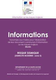 sismicité modérée : zone 3 - Les services de l'État en Haute-Savoie