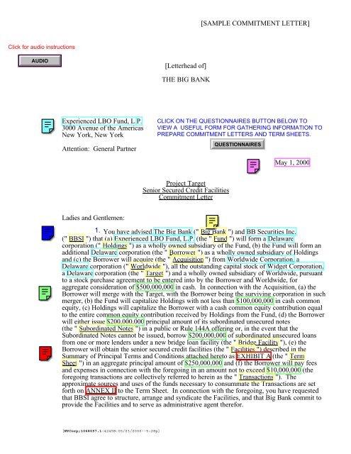 Sample Commitment Letter Letterhead Of The Big Uccstuff