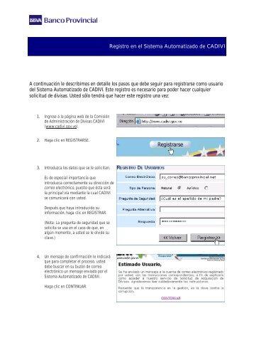 Cómo registrarse como usuario del Sistema Automatizado de CADIVI