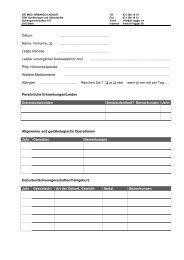 Anamneseblatt - Erstkonsultation - Praxis Dr. A. Lagger, Bern