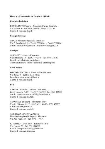 Pizzerie-Paninoteche - Elenco in PDF - Turismo Provincia di Lodi