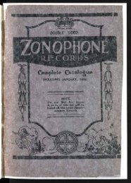 Zonophone Records Complete Catalogue 1922 - British Library ...